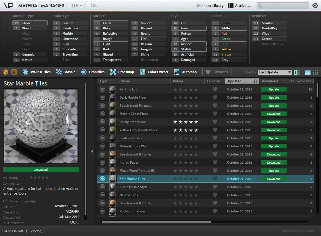 >Vizpark Material manager V1.2.5 Pro – 3ds Max下非常好用的材质包管理器
