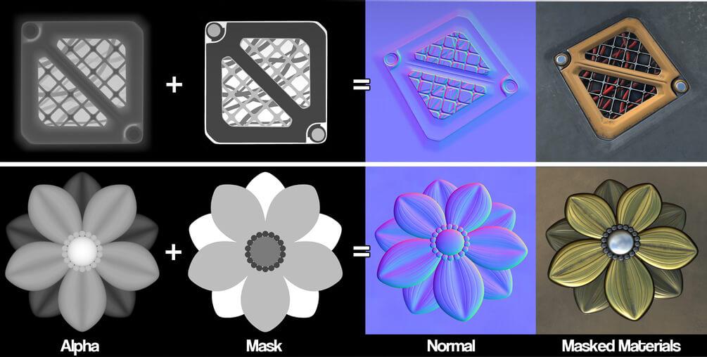 >SPTool Masked Alphas Substance Painter – 遮罩置换挤出插件